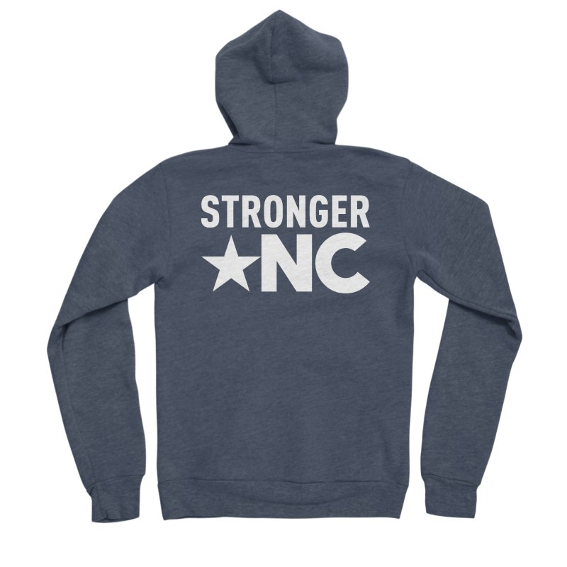StrongerNC White Logo Men's Sponge Fleece Zip-Up Hoody by Stronger NC