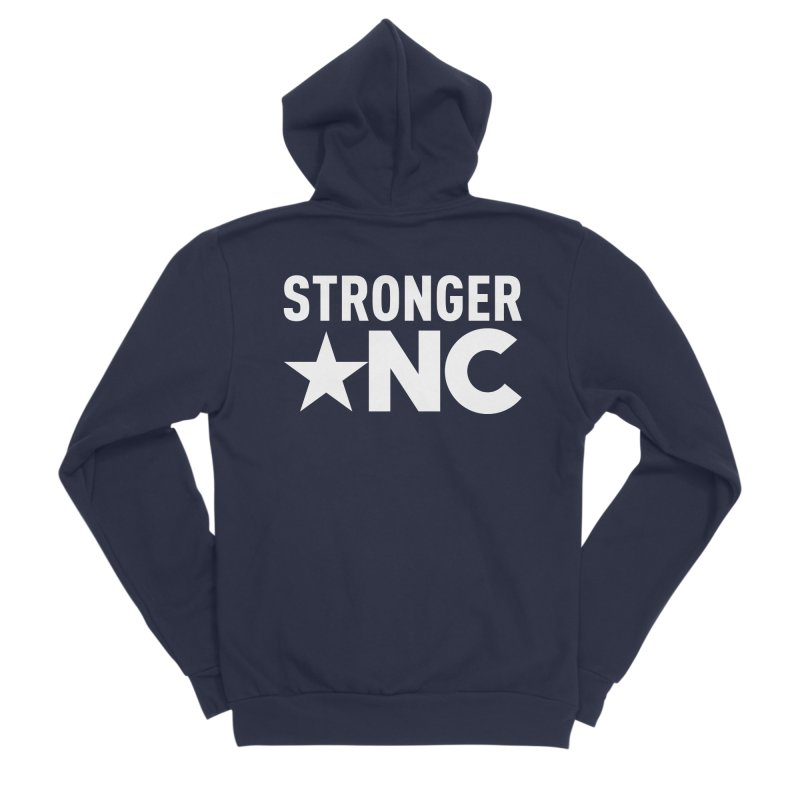 StrongerNC White Logo Women's Sponge Fleece Zip-Up Hoody by Stronger NC