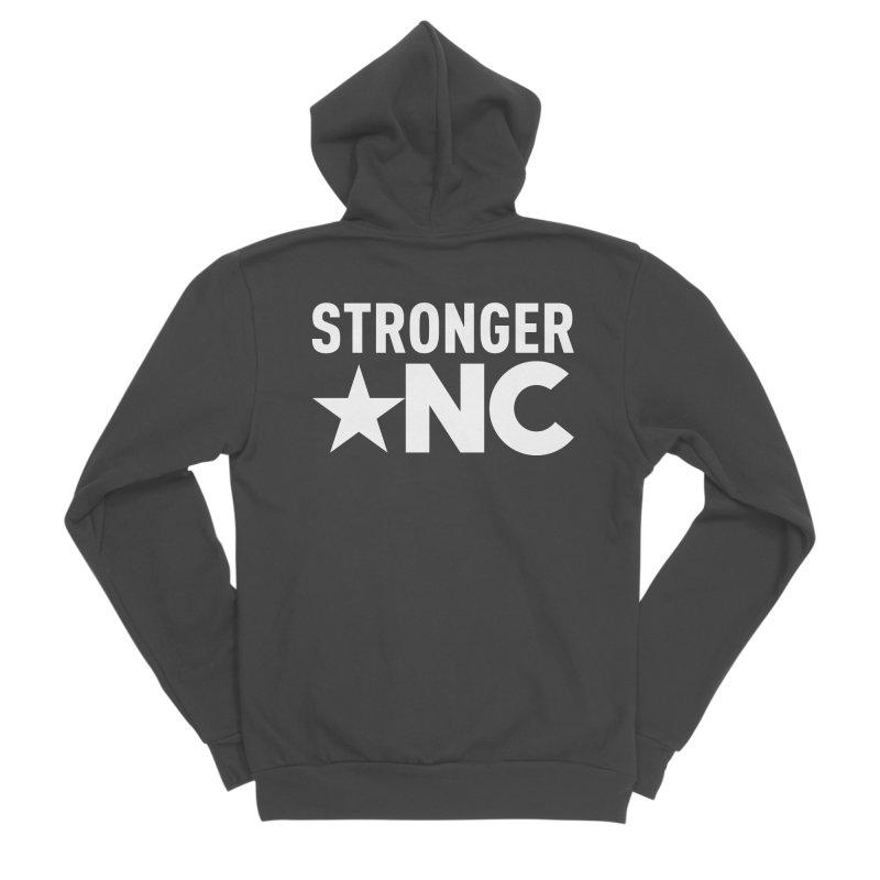 StrongerNC White Logo Men's Sponge Fleece Zip-Up Hoody by Stronger NC