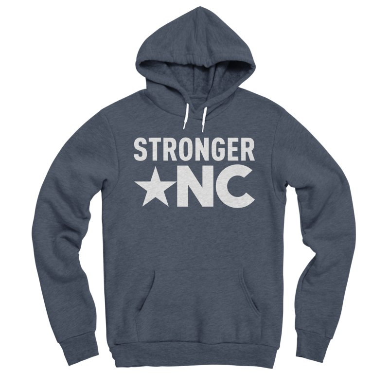 StrongerNC White Logo Men's Sponge Fleece Pullover Hoody by Stronger NC