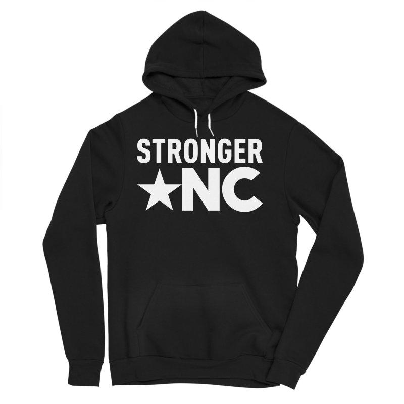 StrongerNC White Logo Men's Sponge Fleece Pullover Hoody by Stronger NC