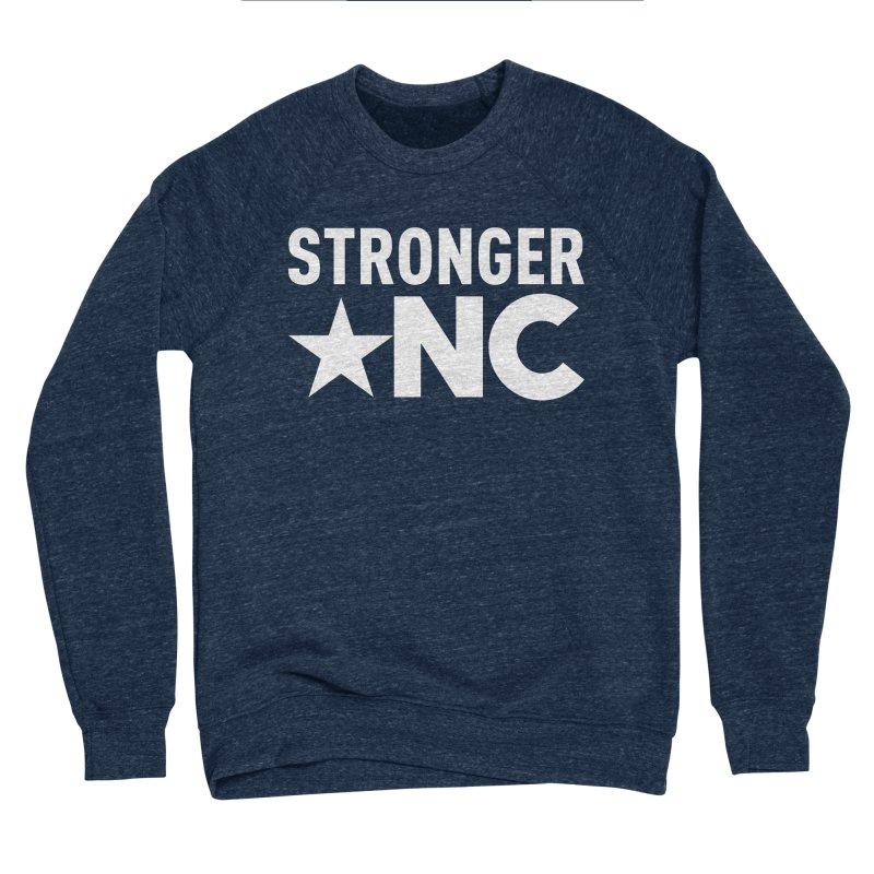 StrongerNC White Logo Men's Sponge Fleece Sweatshirt by Stronger NC