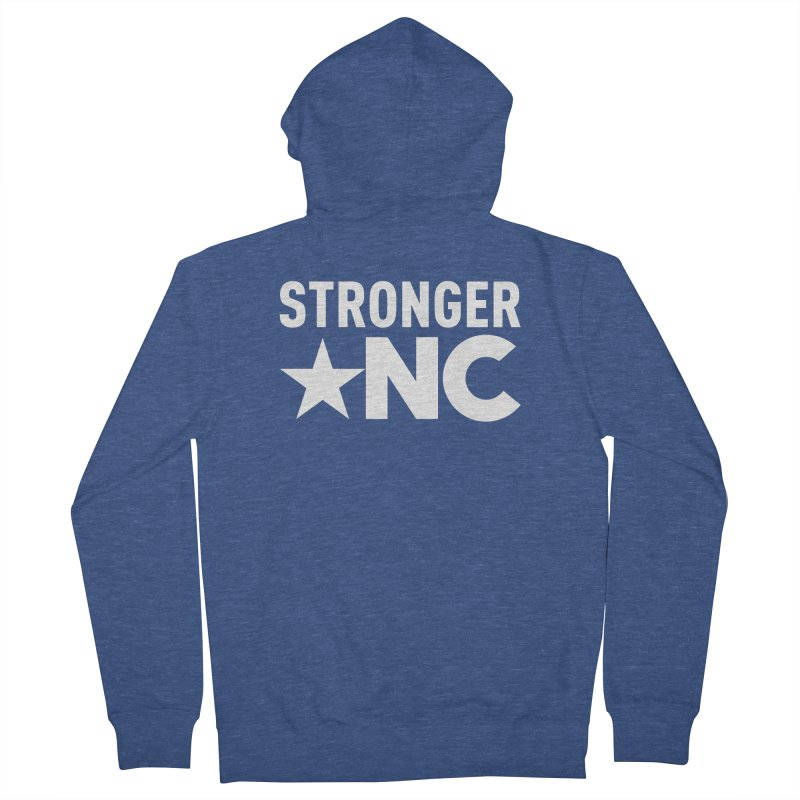 StrongerNC White Logo Men's Zip-Up Hoody by Stronger NC