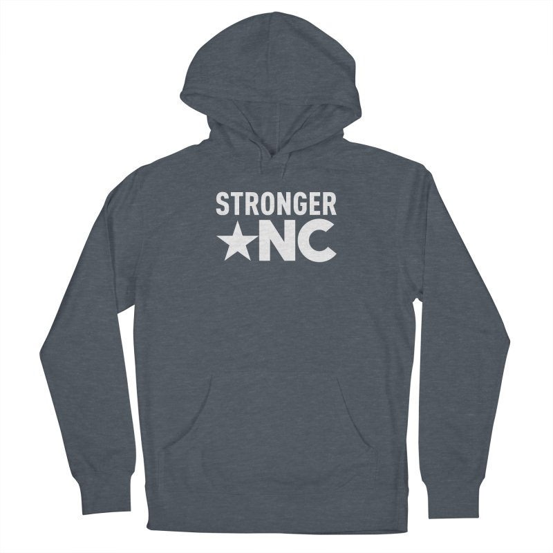 StrongerNC White Logo Women's French Terry Pullover Hoody by Stronger NC