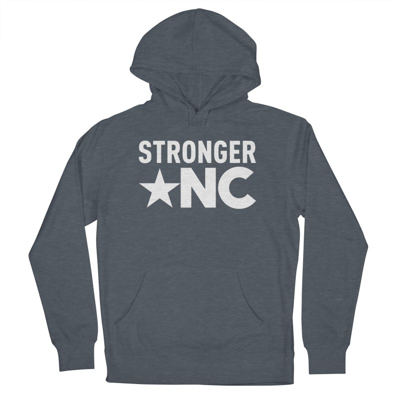 StrongerNC White Logo Men's French Terry Pullover Hoody by Stronger NC