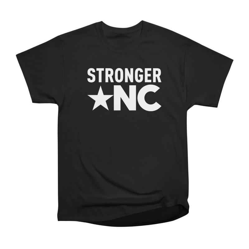 StrongerNC White Logo Men's Heavyweight T-Shirt by Stronger NC