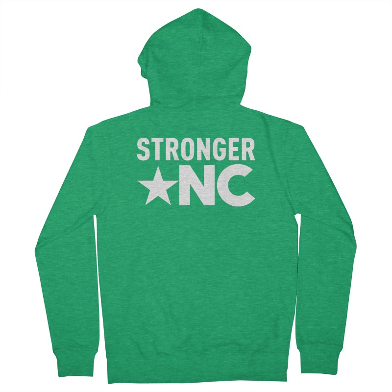 StrongerNC White Logo Women's French Terry Zip-Up Hoody by Stronger NC