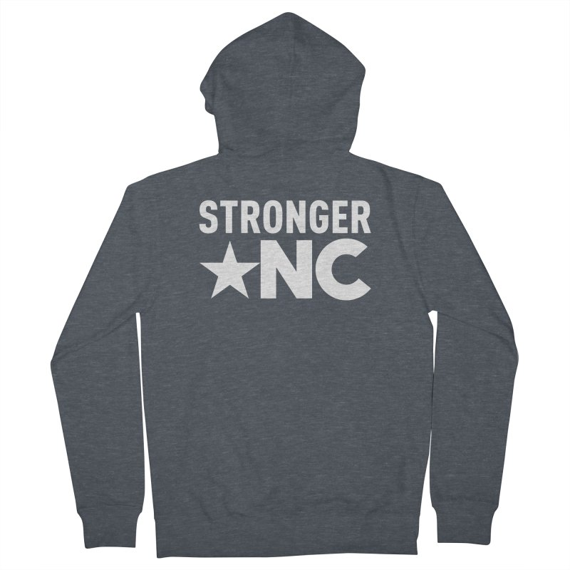 StrongerNC White Logo Men's French Terry Zip-Up Hoody by Stronger NC