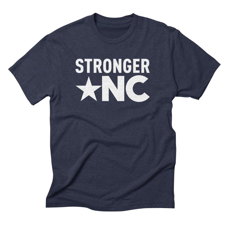 StrongerNC White Logo Men's Triblend T-Shirt by Stronger NC