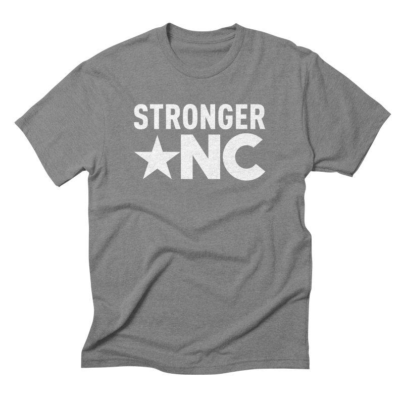 StrongerNC White Logo Men's Triblend T-Shirt by Stronger NC