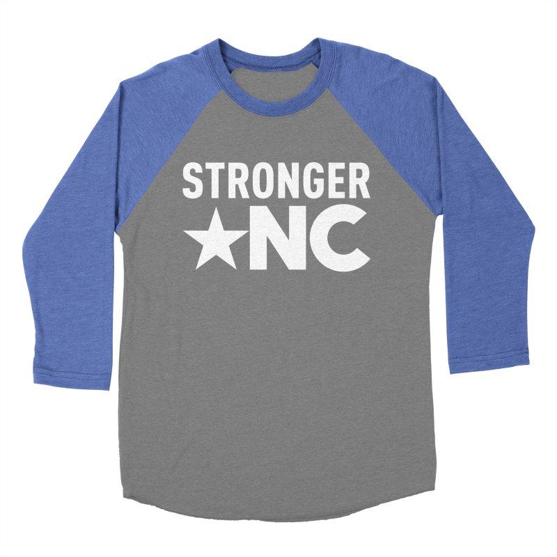 StrongerNC White Logo Men's Baseball Triblend Longsleeve T-Shirt by Stronger NC