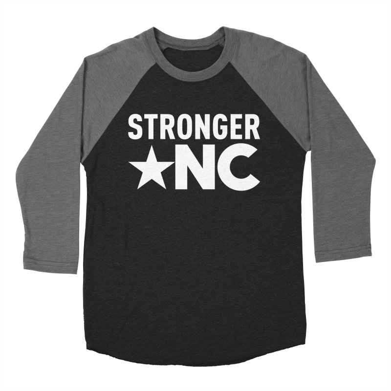 StrongerNC White Logo Men's Baseball Triblend Longsleeve T-Shirt by Stronger NC