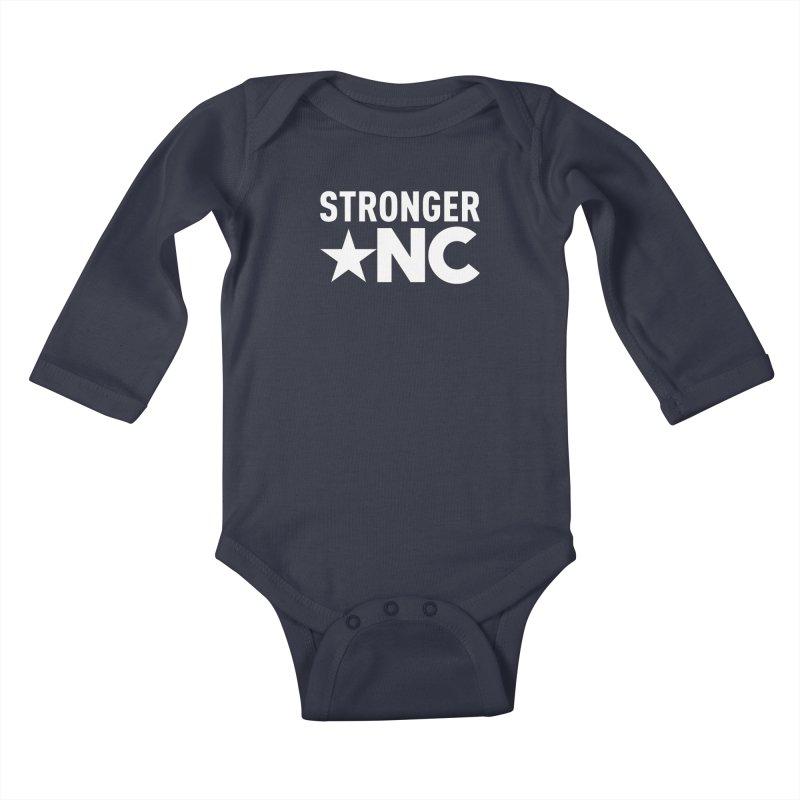 StrongerNC White Logo Kids Baby Longsleeve Bodysuit by Stronger NC