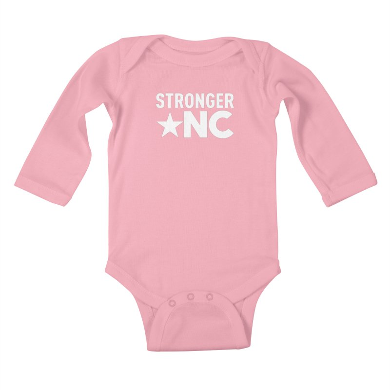 StrongerNC White Logo Kids Baby Longsleeve Bodysuit by Stronger NC