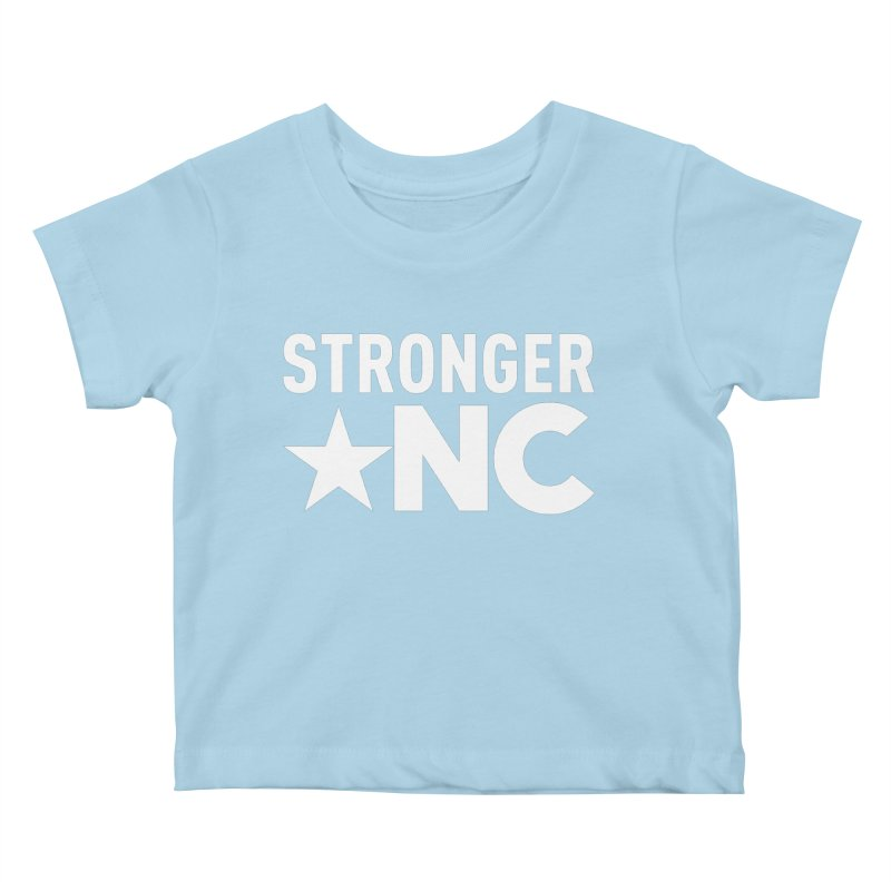 StrongerNC White Logo Kids Baby T-Shirt by Stronger NC