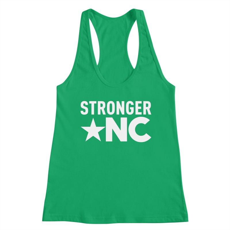 StrongerNC White Logo Women's Racerback Tank by Stronger NC