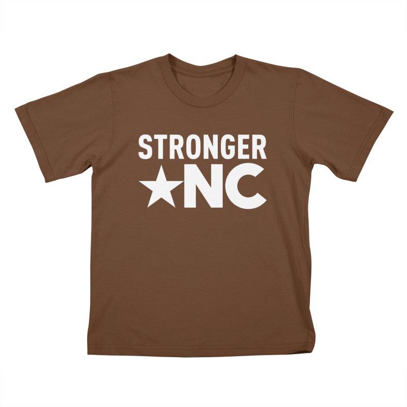 StrongerNC White Logo Kids T-Shirt by Stronger NC