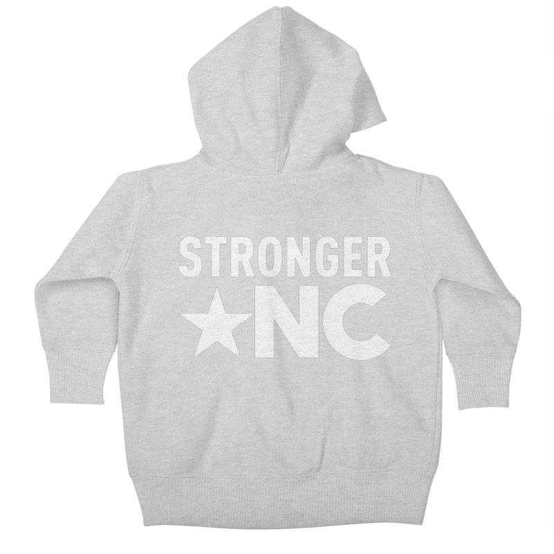 StrongerNC White Logo Kids Baby Zip-Up Hoody by Stronger NC