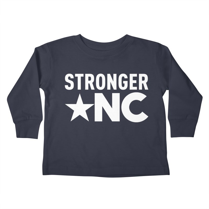 StrongerNC White Logo Kids Toddler Longsleeve T-Shirt by Stronger NC