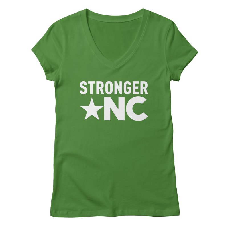 StrongerNC White Logo Women's Regular V-Neck by Stronger NC