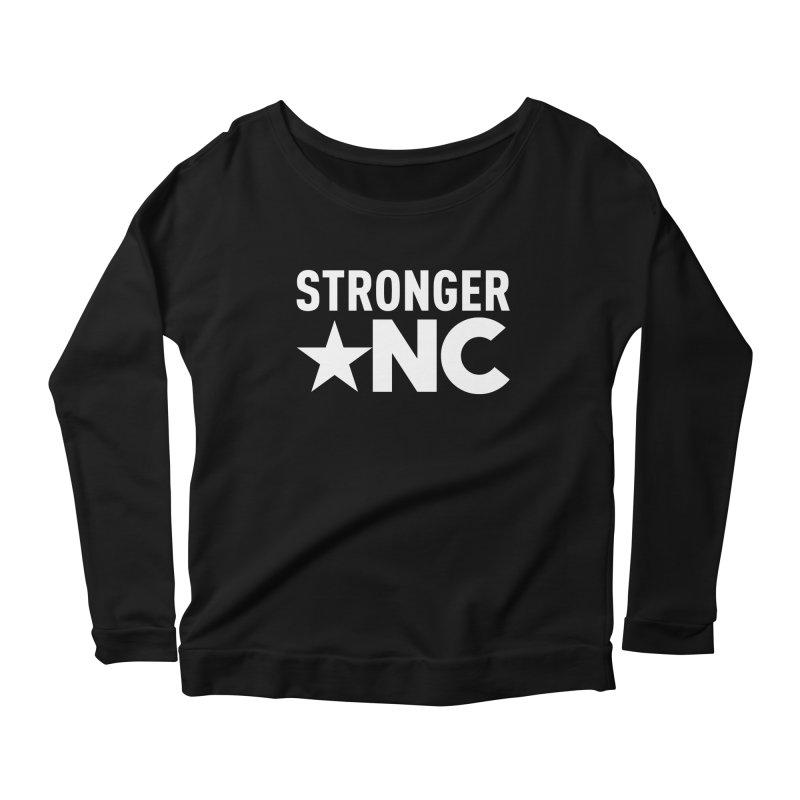StrongerNC White Logo Women's Scoop Neck Longsleeve T-Shirt by Stronger NC