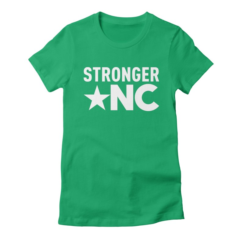 StrongerNC White Logo Women's Fitted T-Shirt by Stronger NC
