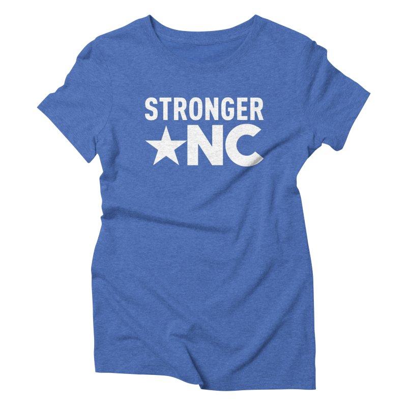 StrongerNC White Logo Women's Triblend T-Shirt by Stronger NC