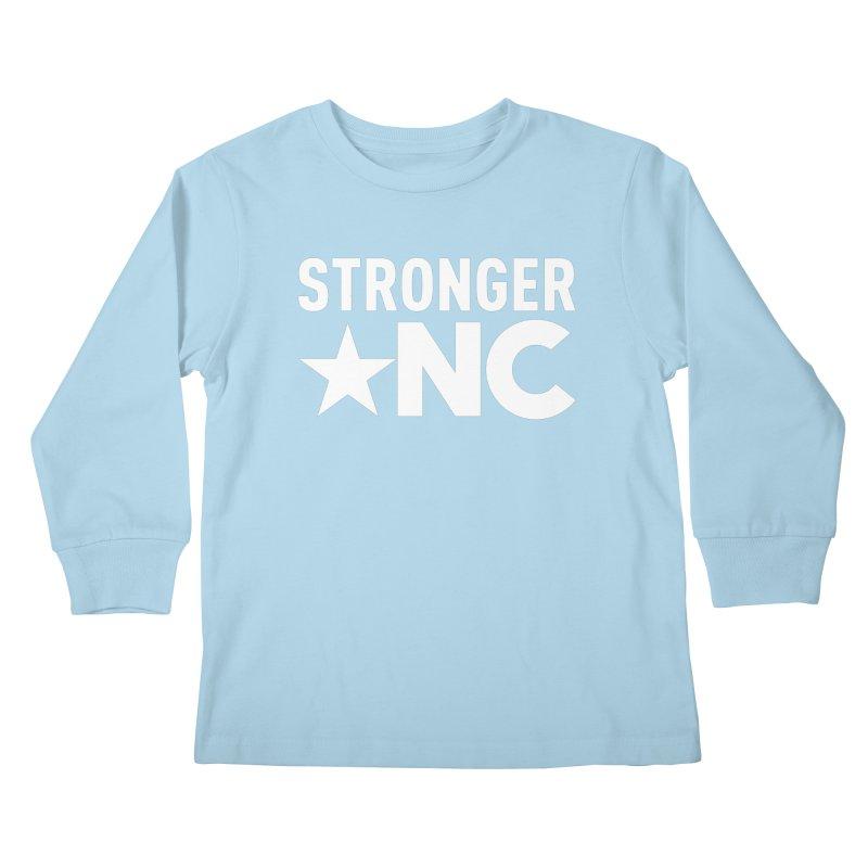 StrongerNC White Logo Kids Longsleeve T-Shirt by Stronger NC