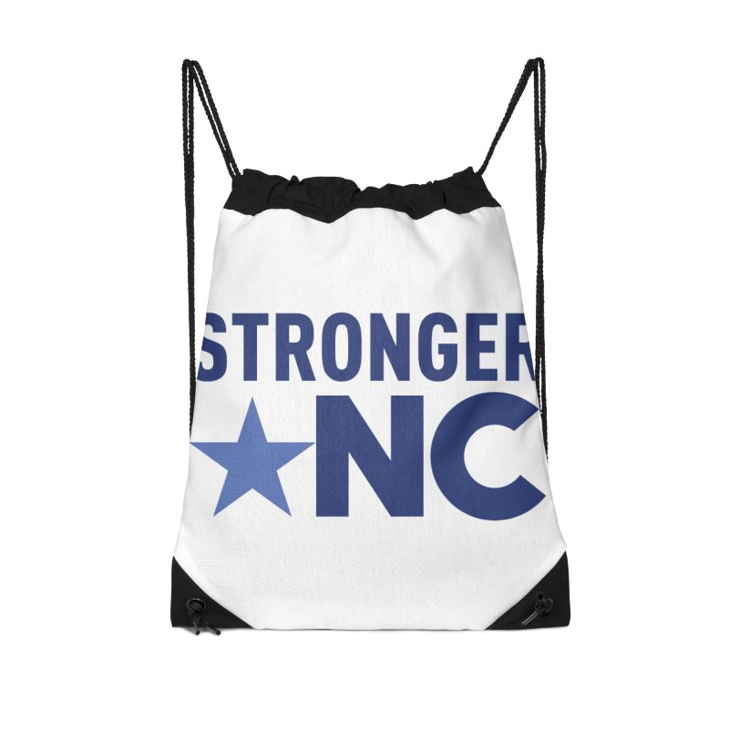 StrongerNC Navy Logo Accessories Drawstring Bag Bag by Stronger NC