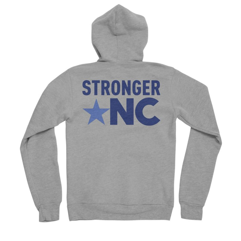 StrongerNC Navy Logo Men's Sponge Fleece Zip-Up Hoody by Stronger NC