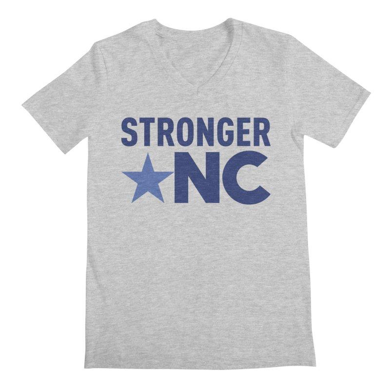 StrongerNC Navy Logo Men's V-Neck by Stronger NC