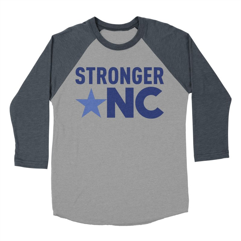 StrongerNC Navy Logo Men's Baseball Triblend Longsleeve T-Shirt by Stronger NC