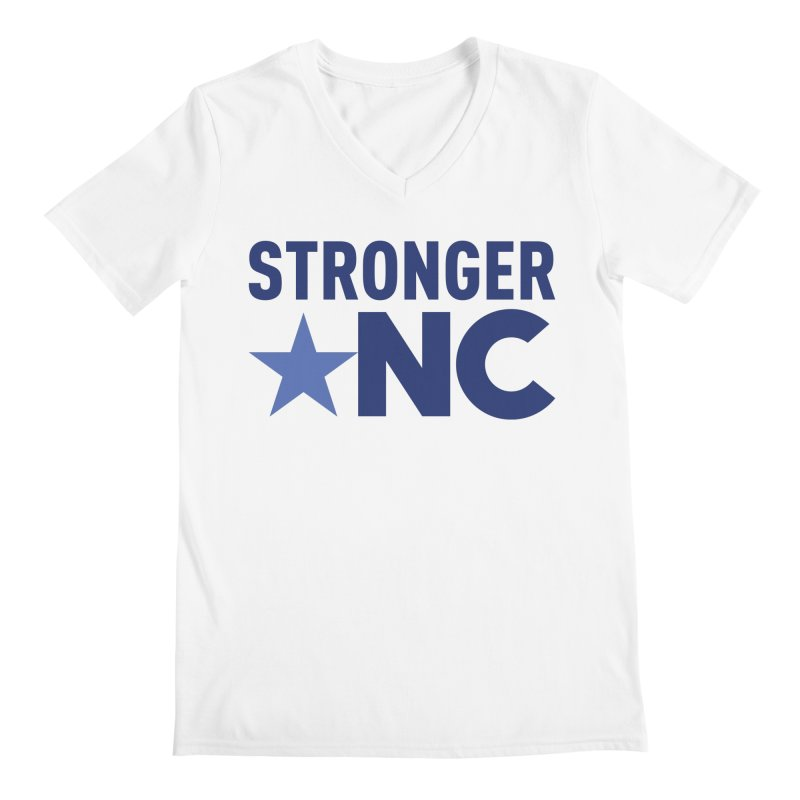 StrongerNC Navy Logo Men's V-Neck by Stronger NC