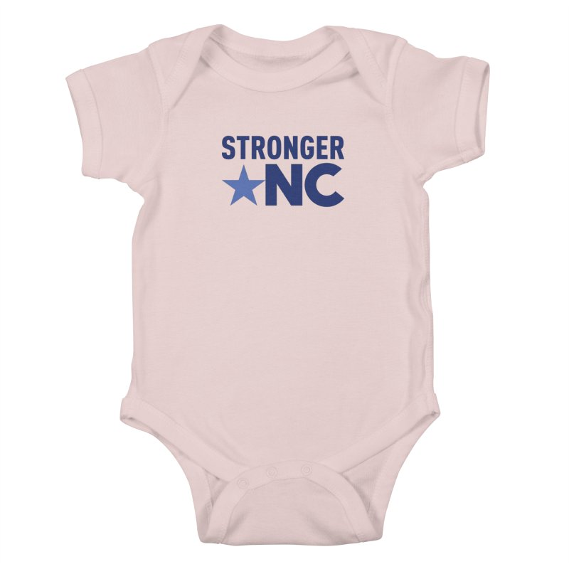 StrongerNC Navy Logo Kids Baby Bodysuit by Stronger NC
