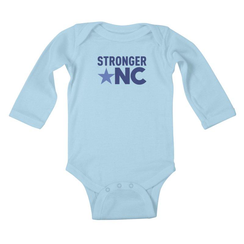 StrongerNC Navy Logo Kids Baby Longsleeve Bodysuit by Stronger NC