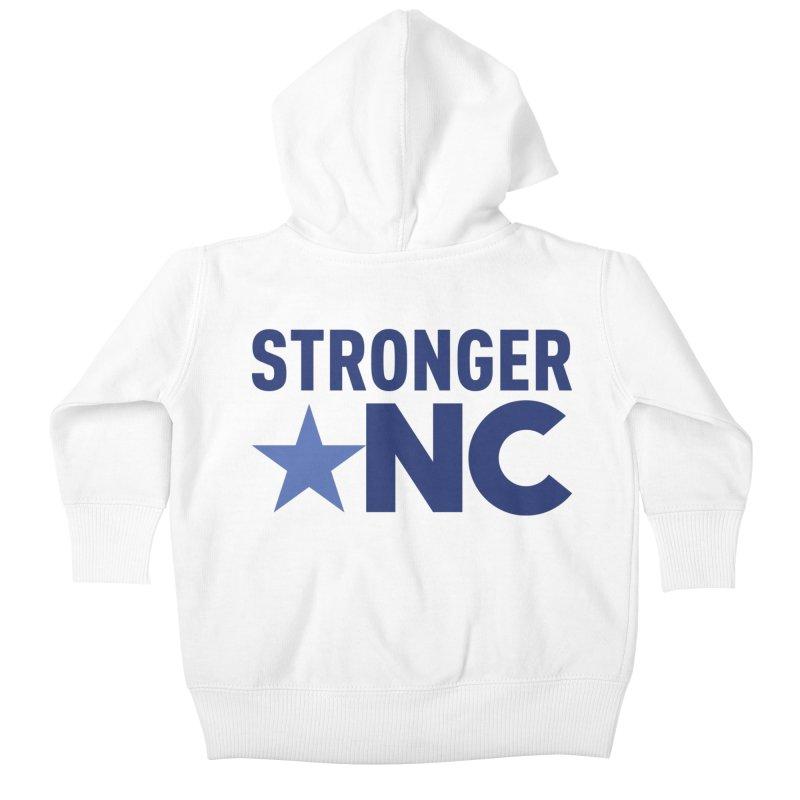 StrongerNC Navy Logo Kids Baby Zip-Up Hoody by Stronger NC