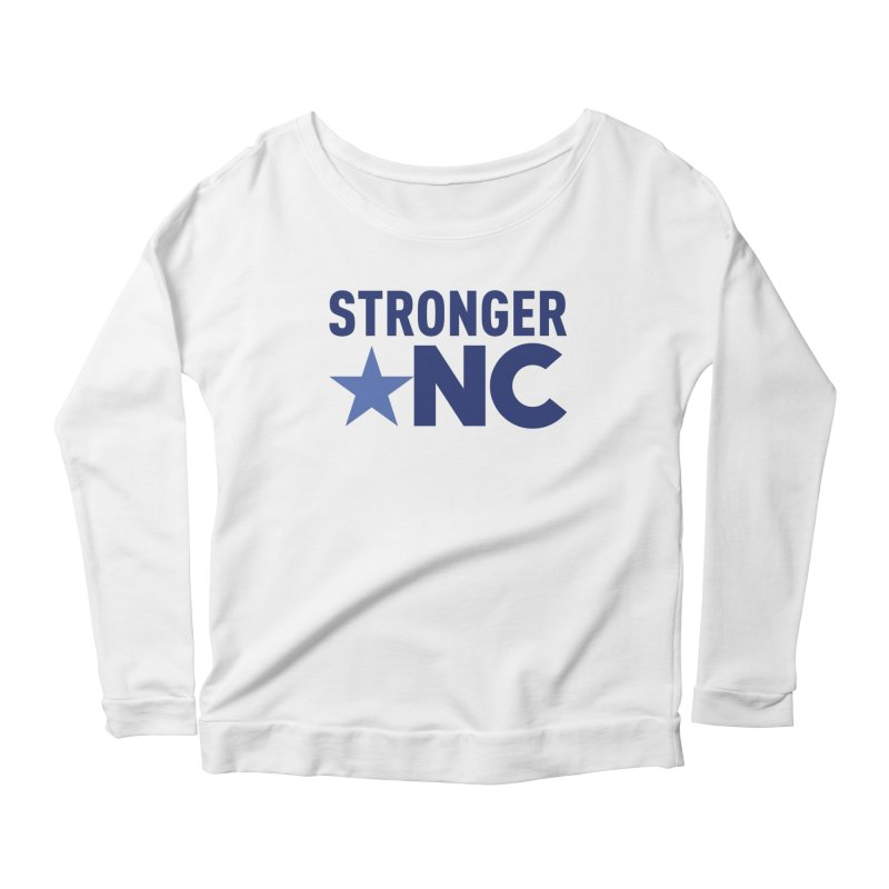 StrongerNC Navy Logo Women's Scoop Neck Longsleeve T-Shirt by Stronger NC
