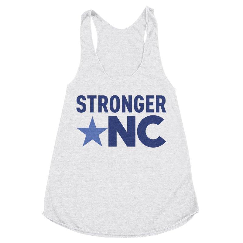 StrongerNC Navy Logo Women's Racerback Triblend Tank by Stronger NC
