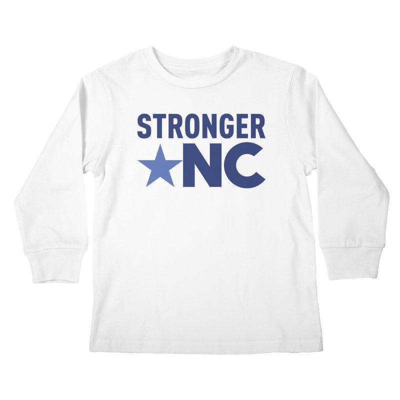 StrongerNC Navy Logo Kids Longsleeve T-Shirt by Stronger NC