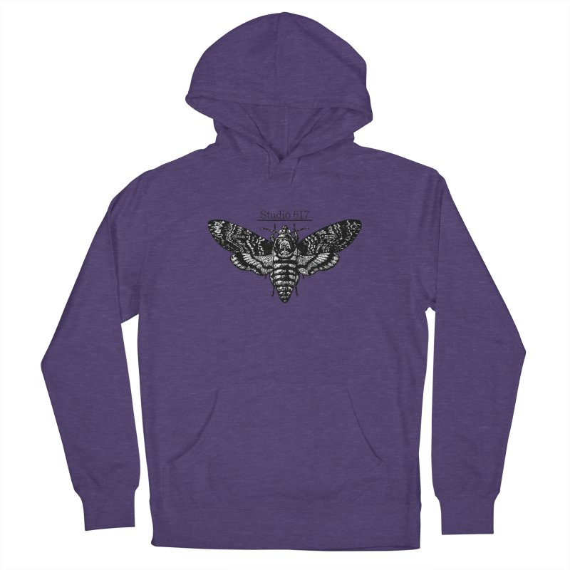 moth logo Women's French Terry Pullover Hoody by Studio 617's Artist Shop