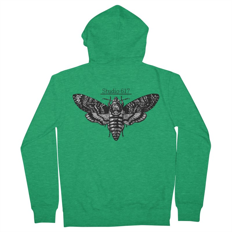 moth logo Women's French Terry Zip-Up Hoody by Studio 617's Artist Shop