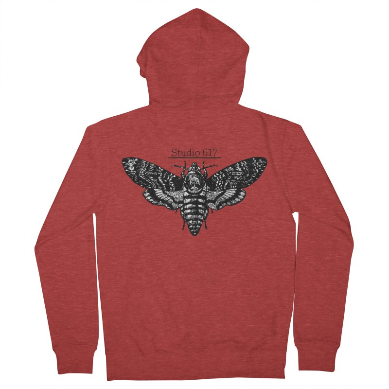 moth logo Men's French Terry Zip-Up Hoody by Studio 617's Artist Shop