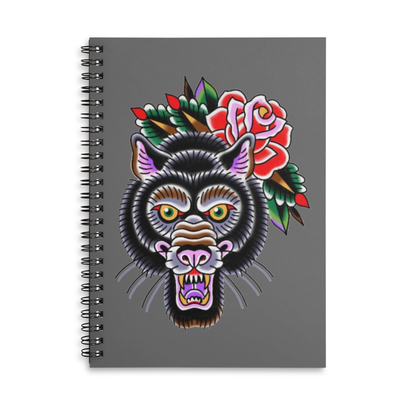 Wolf Accessories Lined Spiral Notebook by Studio 617's Artist Shop