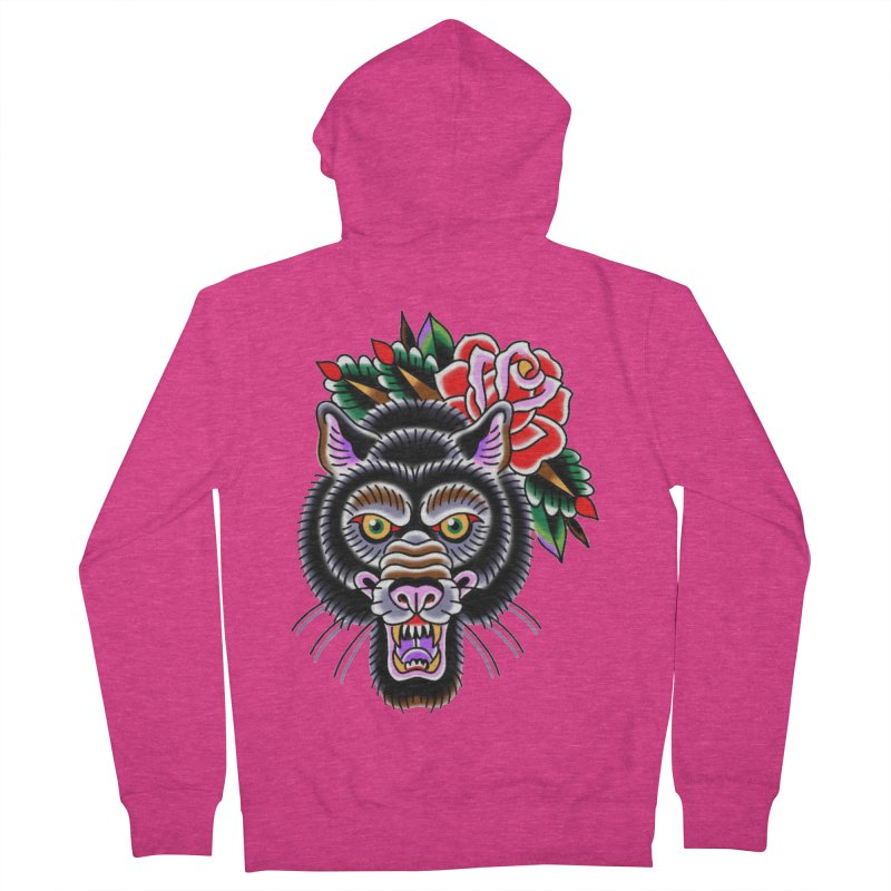 Wolf Women's French Terry Zip-Up Hoody by Studio 617's Artist Shop