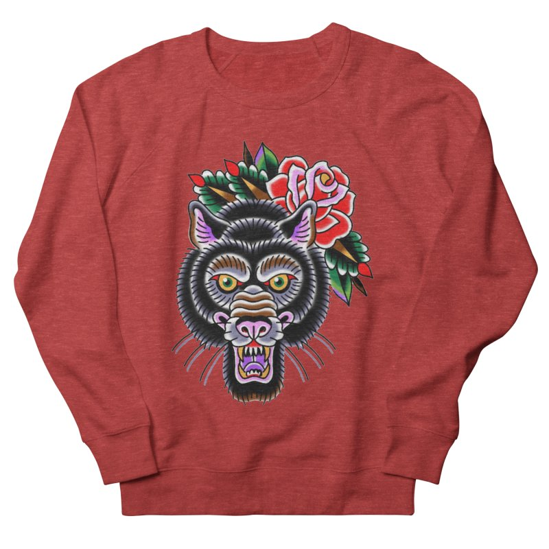 Wolf Men's French Terry Sweatshirt by Studio 617's Artist Shop