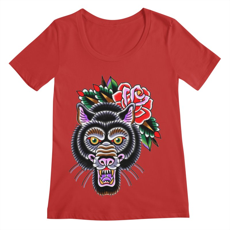 Wolf Women's Regular Scoop Neck by Studio 617's Artist Shop
