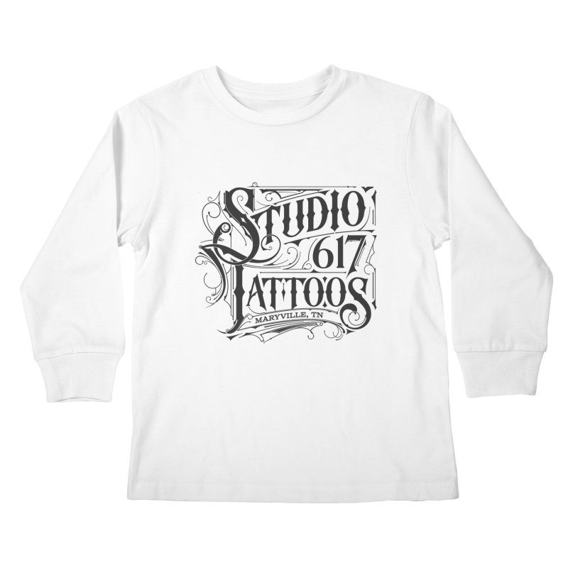 Studio 617 Logo Black Kids Longsleeve T-Shirt by Studio 617 Tattoos