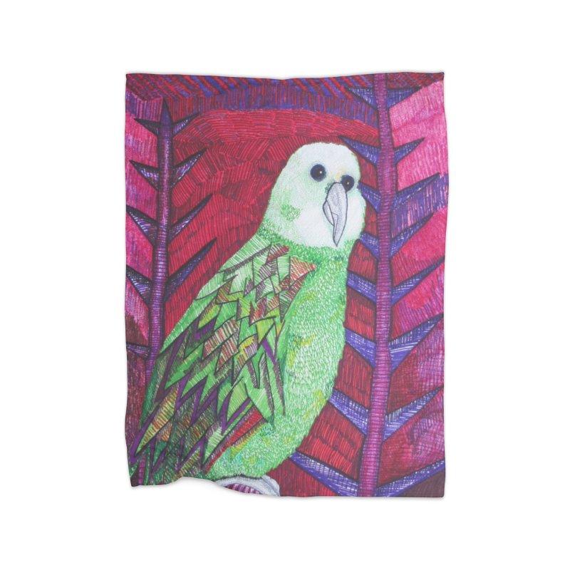Michael the Parrot Home Fleece Blanket Blanket by Studio Art 101's Art Shop