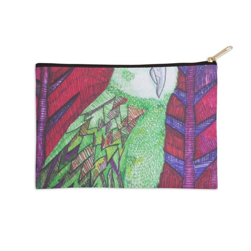 Michael the Parrot Accessories Zip Pouch by Studio Art 101's Art Shop