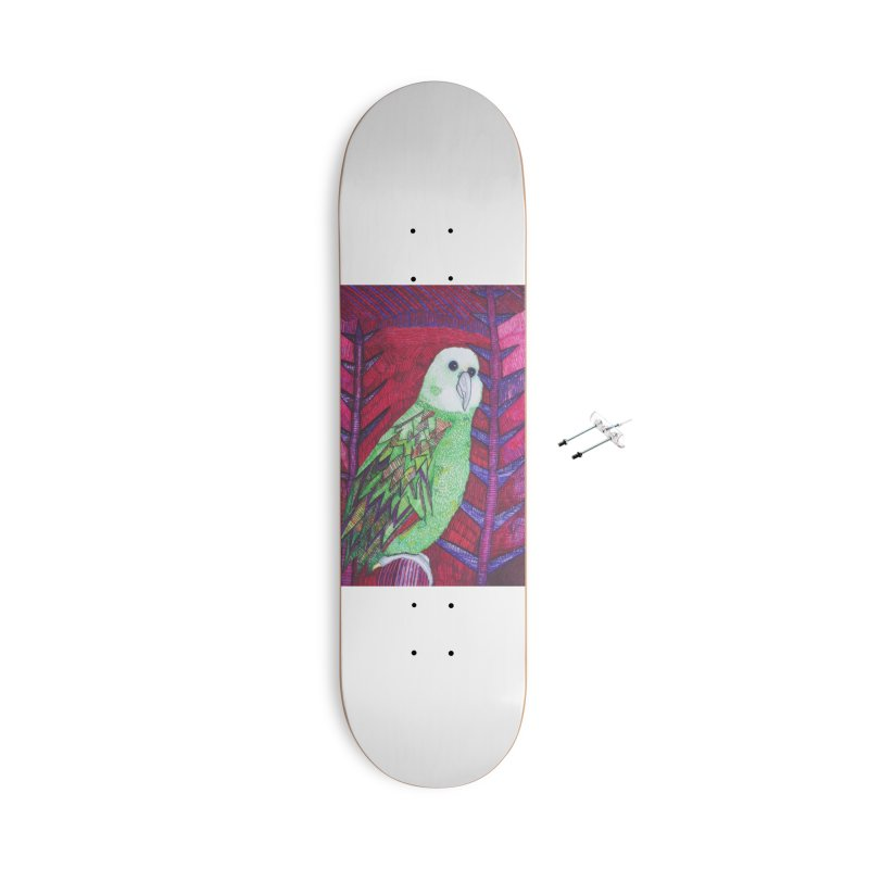 Michael the Parrot Accessories With Hanging Hardware Skateboard by Studio Art 101's Art Shop